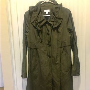 LOFT Olive Green Trench Coat. Size - Small.